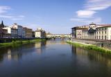 Toskana-Florenz - Fluß Arno mit der Brücke - Ponte Vecchio poster