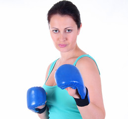 A young woman on a boxing training