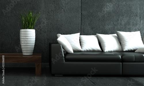 wohndesign schwarzes sofa mit weisser vase von virtua73 lizenzfreies foto 33386810 auf. Black Bedroom Furniture Sets. Home Design Ideas