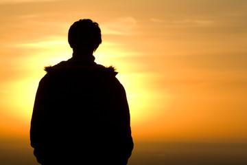 Silhouette man sunrise morning