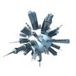 3d rendered illustration of a modern city planet