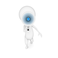 3d rendered illustration of a little guy with a megaphone
