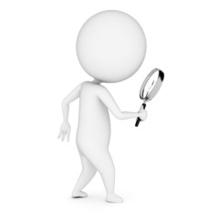 3d rendered illustration of a guy with a magnifier
