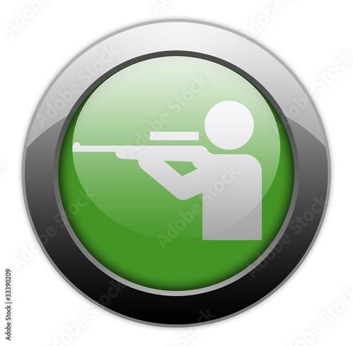 "Green Metallic Orb Button ""Hunting"""