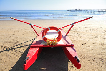 old rescue boat on beach