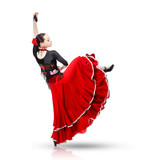 young woman dancing flamenco from back isolated on white