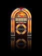 Juke box radio isolated on black background - 33394219