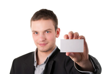 Businessman holding a gift card