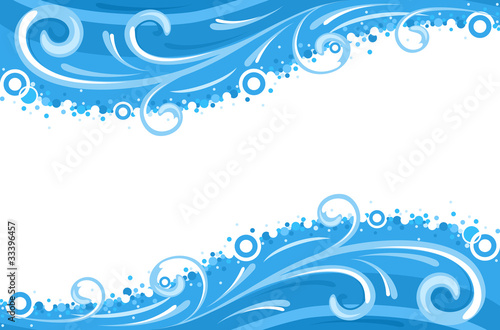 Water waves borders - vector EPS 8