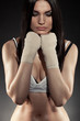 beautiful woman boxer portrait