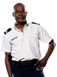 Mature policeman with hand on waist