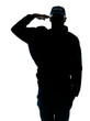Silhouetted image of policeman saluting