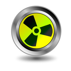 Radioactive danger yellow button.