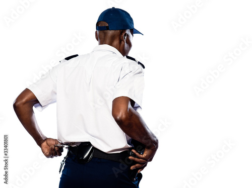 Policeman pulling out handcuffs