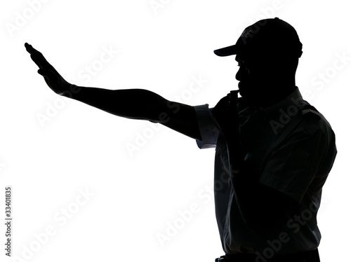 Traffic cop making stop gesture