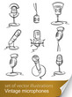 set vintage microphone vector