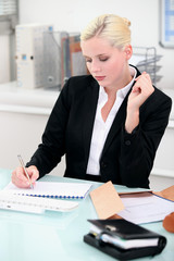 Young businesswoman writing notes at her desk