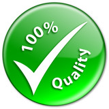 """100% QUALITY"" stamp (marketing badge tick guarantee assured)"