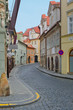 Old street with colorful houses in Prague, Small Quarter