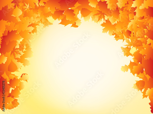 Orange autumn leaves frame design. EPS 8