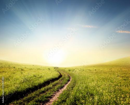 Rural path to sunrise