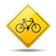 Señal amarilla simbolo bicicleta