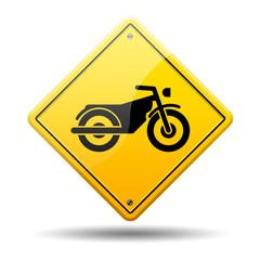Señal amarilla simbolo motocicleta