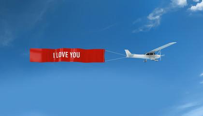 Über den Wolken - Flugzeug mit Banner I love you