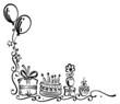 Geburtstag, Torte, Geschenke, birthday, Ranke, schwarz