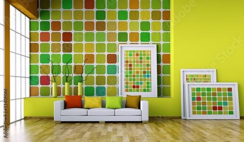 Wohndesign raum mit bunter wand stockfotos und lizenzfreie bilder auf bild for Peinture murale tendance