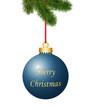 Blaue Weihnachtskugel mit Weihnachtsgruss