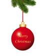Rote Weihnachtskugel mit Weihnachtsgruss