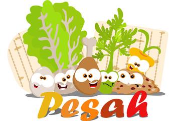 Cartoon Passover seder foods together