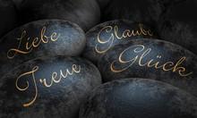 Pierres noires - l'amour, la foi, la fidélité et le bonheur