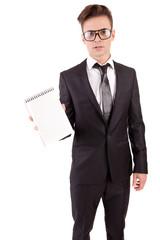 Engineer showing notebook