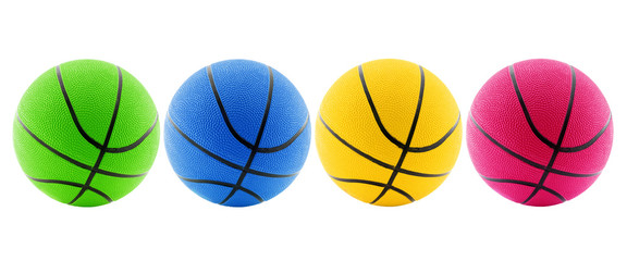 four basketball balls isolated on white background.