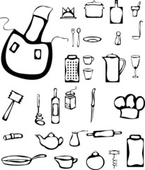 Set of stylized kitchen stuff