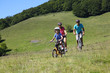 Family on a mountain bike ride in summer
