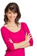 lachende Frau vor weißem Hintergrund