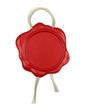 Red wax seal with cord