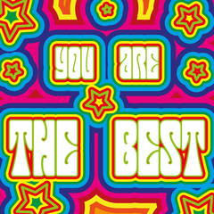 "Promo placard with words ""You are the best"", vector"