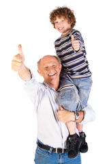 Thumbs-up pair of grandfather and grandson