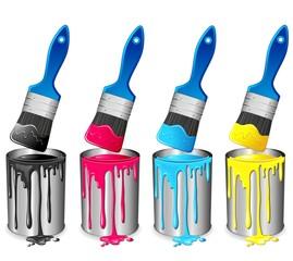 Barattolo di Vernice e Pennello-Tin of Paint and Brush-Vector