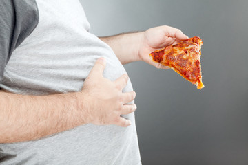 Man holding pizza and rubbing his belly