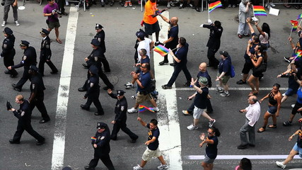 Police and Gays March at the Pride Parade