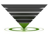 3D marketing conversion funnel used for rate analysis