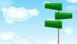 green blank road sign with cloud background