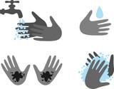 Hand washing set poster