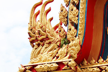 Naga in roof temple in Thailand.