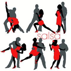Salsa silhouettes set